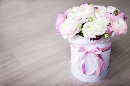 Big bouquet of summer flowers in white round box on wooden table big bouquet of summer flowers in white round box on wooden table background stock photo mightylinksfo