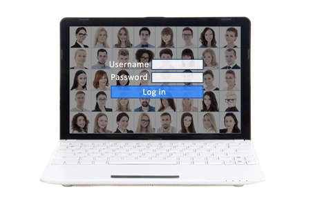 social media concept - laptop with login and password panel on screen isolated on white background photo