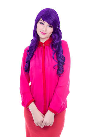 woman in pink with purple hair isolated on white background