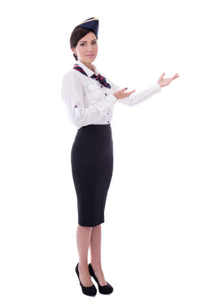 welcoming flight attendant isolated on white background Stock Photo