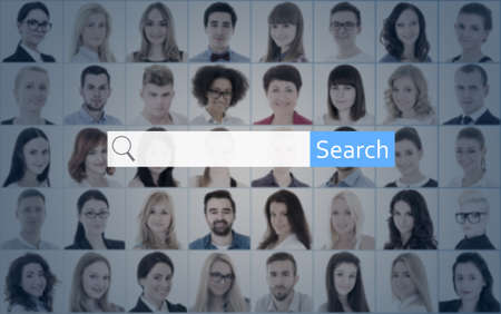 internet search concept - search bar over collage of people portraits photo