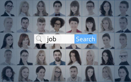 internet and job search concept - search bar over collage of business people faces photo