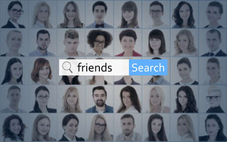 social network concept - search bar with word friends over collage of different people faces photo