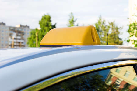 yellow blank lamp with copy space on car roof Stock Photo