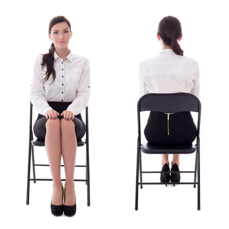 front and back view of young woman sitting on office chair isolated on white background Stock Photo