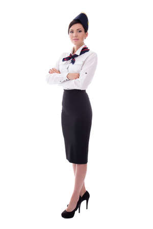 full length portrait of young beautiful stewardess isolated on white background