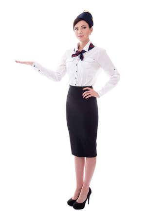 air hostess: portrait d'hôtesse accueillante isolé sur fond blanc