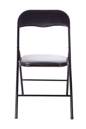 Zwarte vouwen bureau stoel geïsoleerd op een witte achtergrond