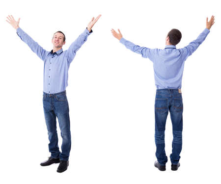 front and back view of cheerful young businessman celebrating something isolated on white background Stock Photo