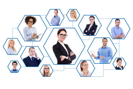 social media and internet concept - portraits of business people isolated on white background Stock Photo