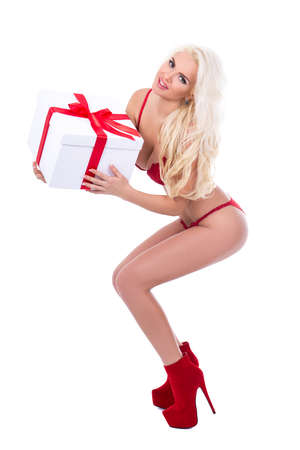 valentines day or christmas concept - sexy woman in lingerie with gift box isolated on white background