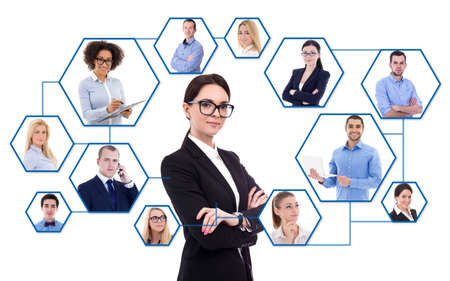 internet concept - young business woman and her social network isolated on white background photo