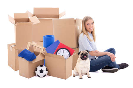 young woman ready for moving day isolated on white background Stock Photo