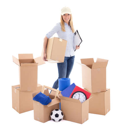 moving day concept - delivery girl with carboard boxes isolated on white background