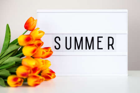 lightbox with word summer and tulip flowers on the table