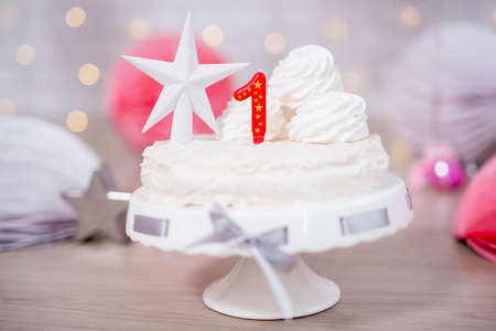 first birthday concept - sweet cake with one candle