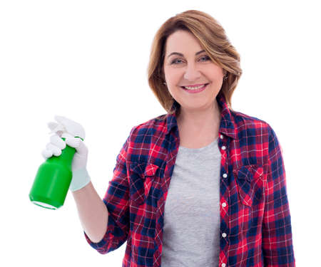 cleaning concept - portrait of smiling mature woman with spray bottle isolated on white background