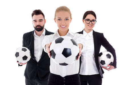 business and sport concept - young business people with soccer balls isolated on white background Stock Photo - 124962625