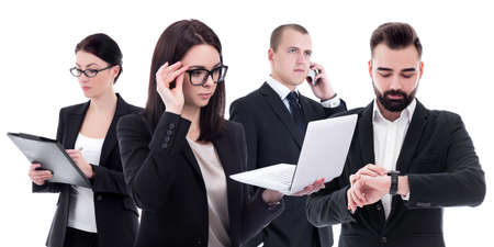 team work concept - busy business people in business suits isolated on white background Imagens