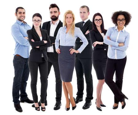 Jóvenes empresarios exitosos en trajes de negocios aislado sobre fondo blanco.