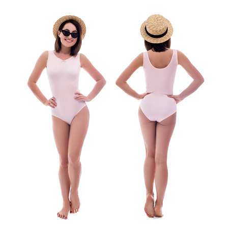 front and back view of young beautiful woman in pink swimsuit and straw hat isolated on white background