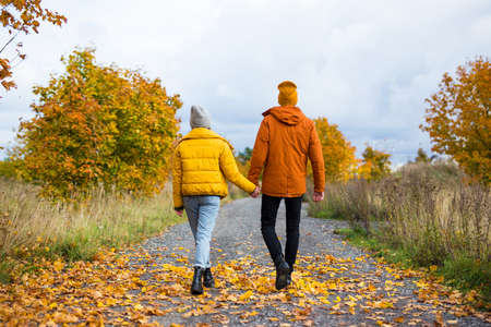 back view of young beautiful couple walking in autumn park