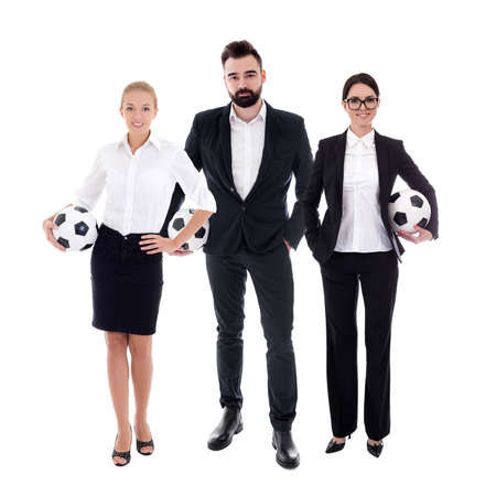 business and sport concept - full length portrait of young business people in business suits with soccer balls isolated on white background