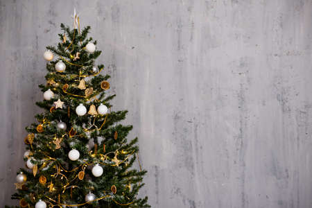 christmas tree and copy space over grey concrete wall background Фото со стока - 132676733