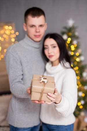 christmas, new year and love concept - young couple in love holding gift box in decorated living room with Christmas tree and lights Фото со стока - 133347188