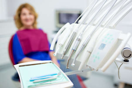 close up of dentists tools in modern dental clinic