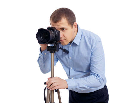 full length portrait of professional videographer with dslr camera on 3-axis gimbal isolated on white background Banco de Imagens