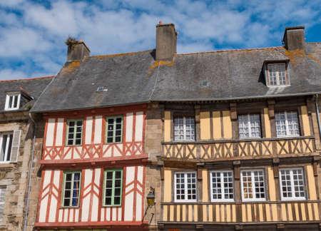 Treguier, Bretagne, France - Jul 30, 2016: Typical construction of the French Breton region, mezzanine facade. Editorial