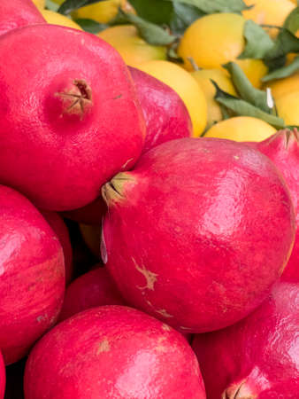 Close up of fruit on a market stall. Pomegranates in the top floor, right behind lemons and mandarins. Stock Photo