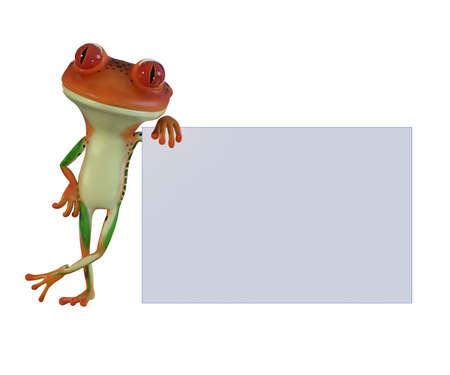 3d illustration of an orange cartoon tree frog. Reklamní fotografie - 83381266