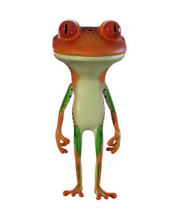 3d illustration of an orange  cartoon tree frog.