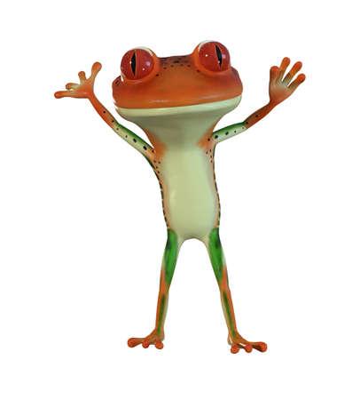 오렌지 만화 나무 개구리의 3d 일러스트 레이 션.