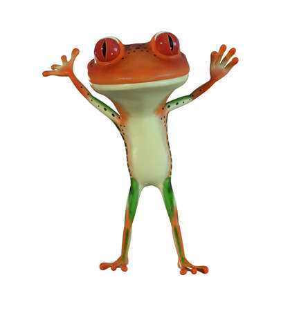 3d illustration of an orange  cartoon tree frog. Stock fotó - 83294535