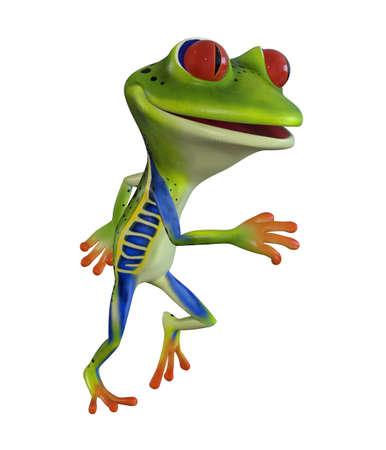 3d illustration of a green cartoon tree frog.