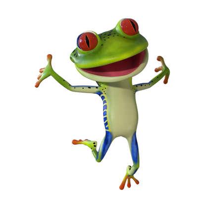 Illustration 3d d'une grenouille de dessin animé verte. Banque d'images - 83294548