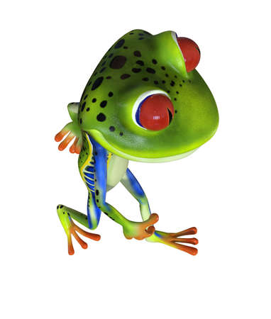 3d illustration of a green cartoon tree frog.