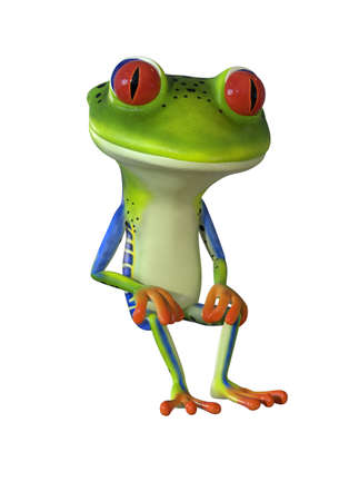 3d illustration of a green cartoon tree frog. Stock fotó - 83277447