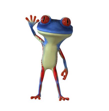 3d illustration of a blue cartoon tree frog.