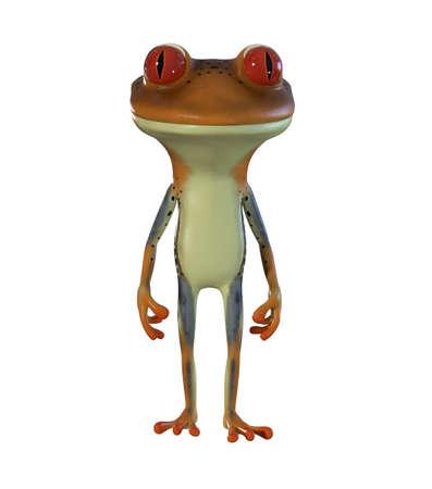 3d illustration of a brown cartoon tree frog.