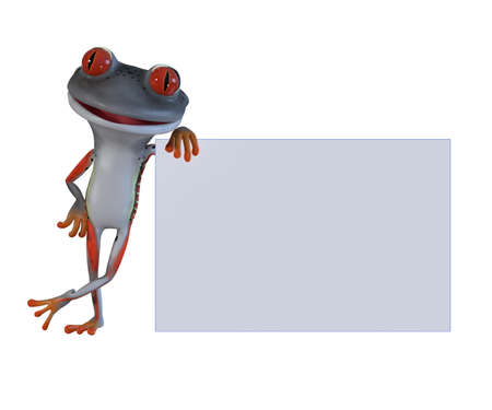 3d illustration of a gray cartoon tree frog.