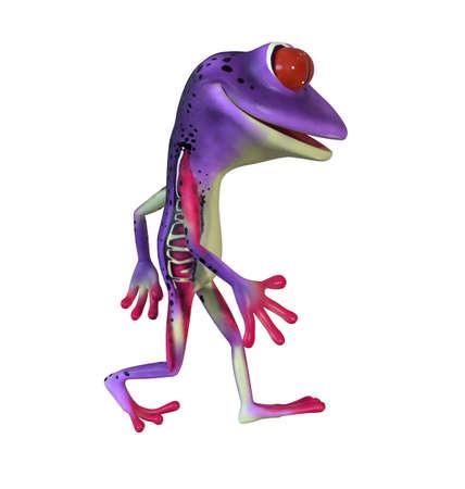 3d illustration of a purple cartoon tree frog.
