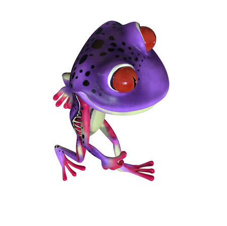 3d illustration of a purple cartoon tree frog.
