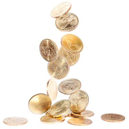 Heap of american dollars falling on the ground Stock Photo - 10649462