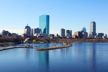 boston skyline: Boston skyline from the Charles River, Massachusetts, USA Stock Photo