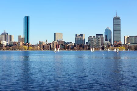hancock building: Boston skyline from Cambridge over the Charles River, Massachusetts, USA