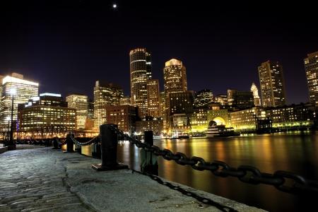 Boston downtown skyline at night, USA
